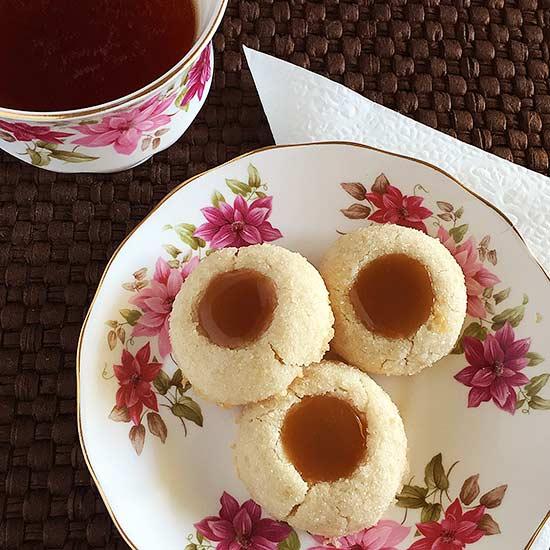 Butterscotch Shortbread Thumbprint Cookies