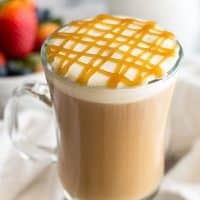 A homemade copycat recipe for Starbucks' caramel macchiato, but better! From BakingMischief.com