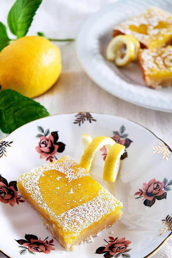 The EASIEST, best tasting lemon bars you've ever tried. Tart, sweet, and oh so pretty! Recipe includes nutritional information and freezing instructions.