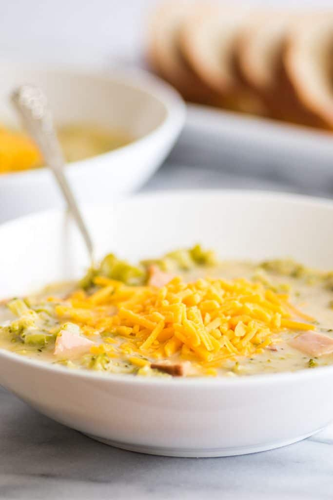 This Easy Cheesy Broccoli Chowder With Ham is fast and easy, and you can do all the prep work a couple of days in advance. | #soup | #dinner | #easydinner | #broccoli | #cheese |
