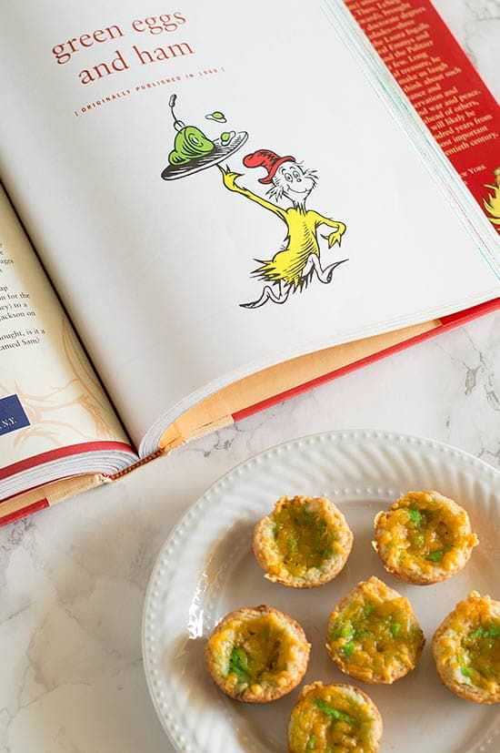 Green Eggs and Ham Mini Quiche - Green eggs, ham, and cheddar cheese in a buttermilk crust make a fun and delicious tribute to one of Dr. Seuss' most beloved works. So tasty you might not want to share them with the kids! Recipe includes nutritional information and freezer instructions. From BakingMischief.com