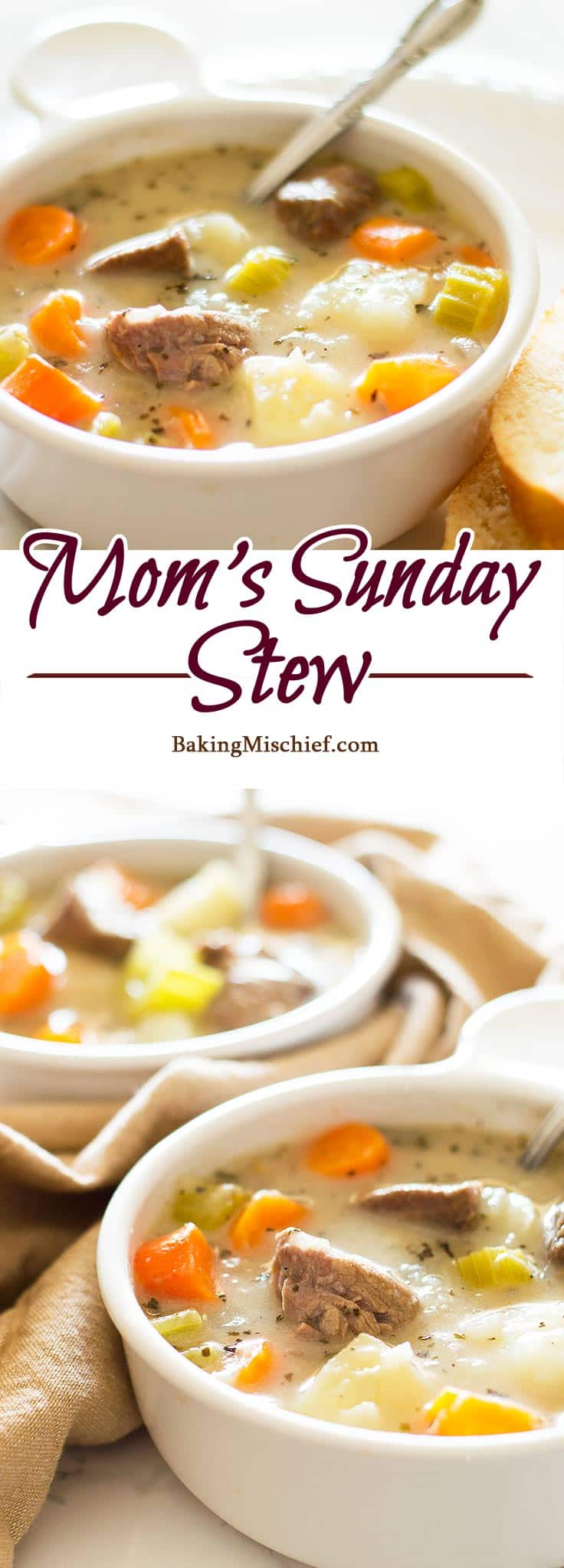 Mom's Sunday Stew - Completely from scratch delicious and hearty beef stew, just like Mom used to make it. Recipe includes nutritional information. BakingMischief.com