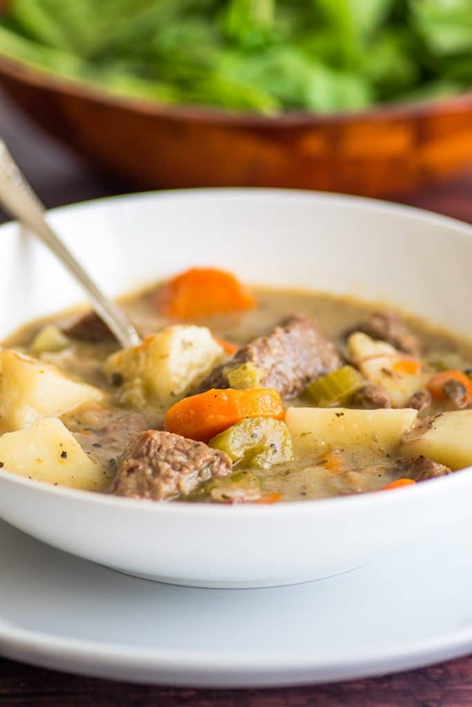 This hearty Simple Beef Stew is made completely from scratch and is absolutely delicious, just like Mom used to make it. | #EasyDinner | #SundayDinner |