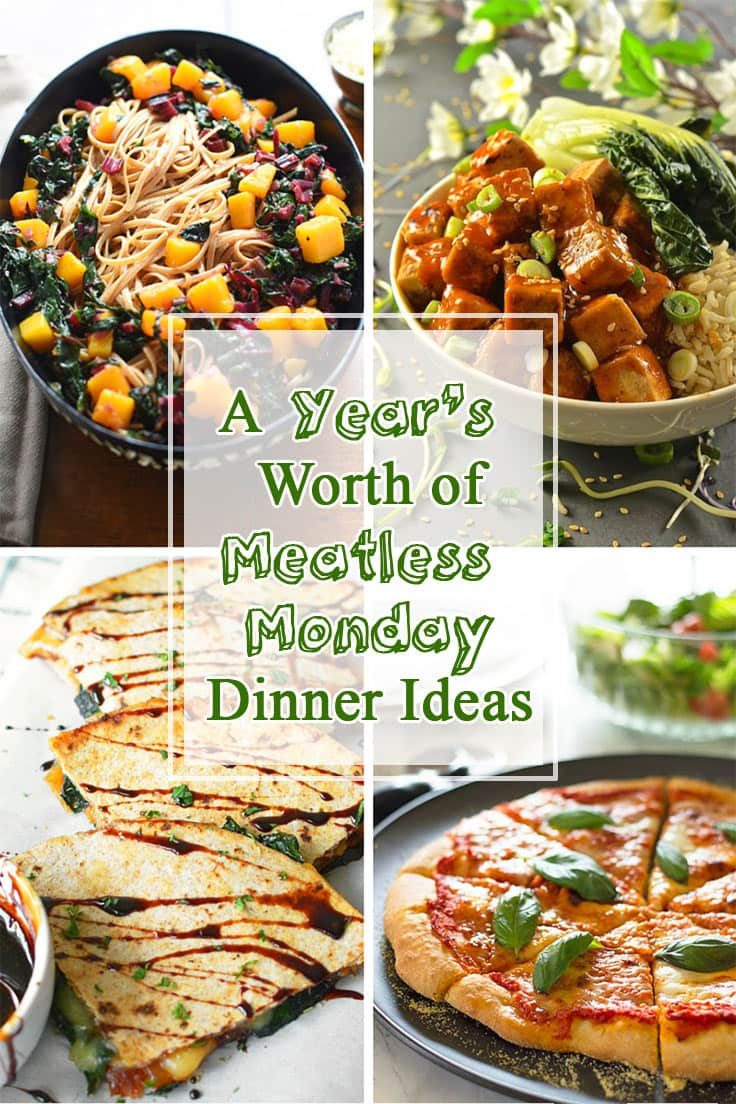A round up of an entire year's worth of delicious Meatless Monday dinner ideas.
