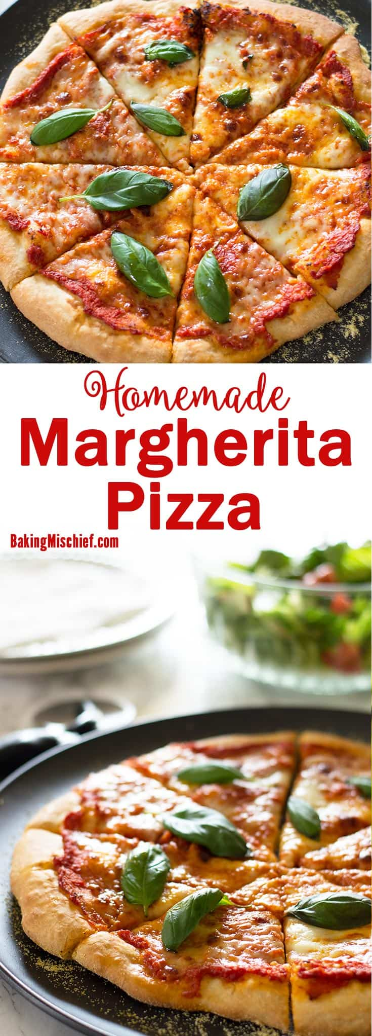 Simple but impressive homemade margherita pizza with dough and sauce from scratch! Recipe includes nutritional information and freezer and make-ahead instructions. From BakingMischief.com