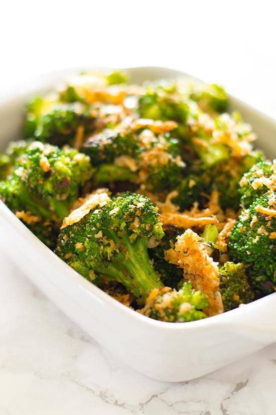 An easy, cheesy broccoli side dish with crunchy panko and Parmesan. Healthy, quick, and perfect for busy weeknights. Recipe includes nutritional information, small-yield and make-ahead instructions. From BakingMischief.com
