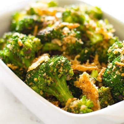 Easy and cheesy, you willl love this Panko and Parmesan Broccoli.