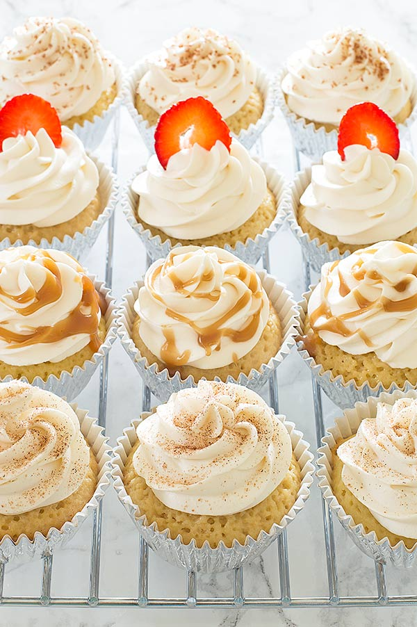 These Kahlua Tres Leches Cupcakes take classic tres leches cake and add a boozy Kahlua twist. An easy and delicious recipe perfect for Cinco de Mayo.