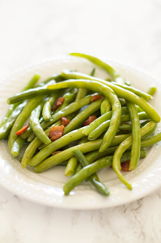 Fresh green beans with chopped bacon, tossed in bacon drippings make ...