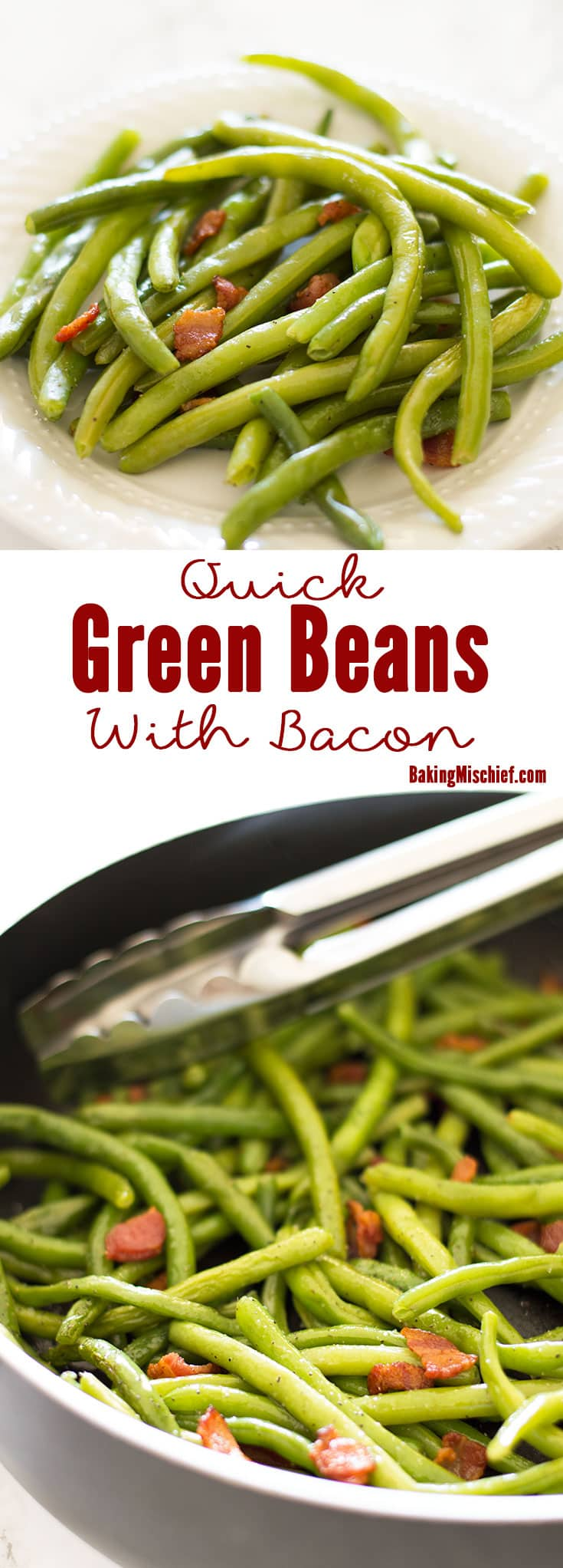 Fresh green beans with chopped bacon, tossed in bacon drippings make an easy, tasty, and surprisingly low-calorie side dish. Recipe includes nutritional information. From BakingMischief.com