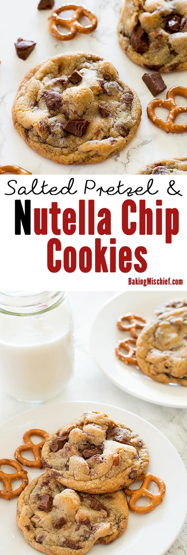 Delicious cookies with chunks of salty, crunchy pretzel and homemade Nutella chips in every bite. Recipe includes nutritional information. From BakingMischief.com
