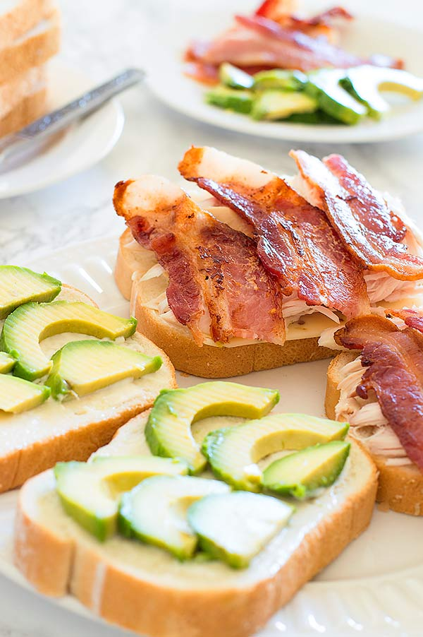 grown up grilled cheese sandwich loaded with bacon, avocado, chicken ...
