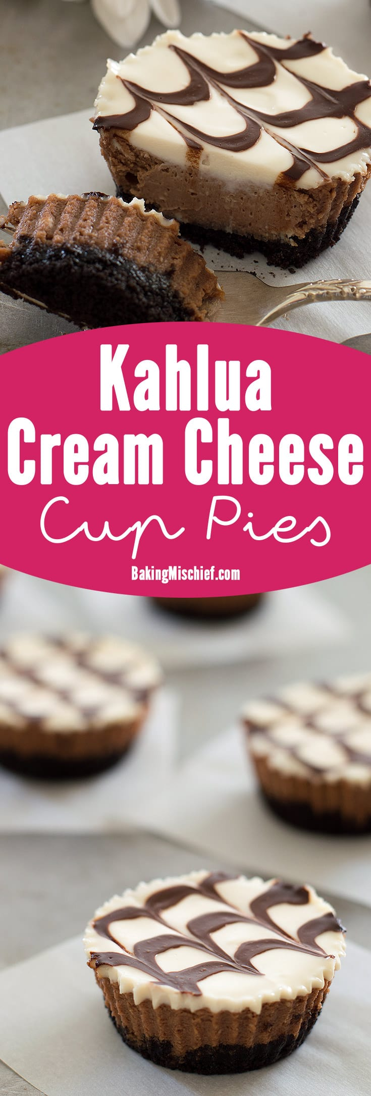 Mini mocha and Kahlua cheesecakes with a crunchy Oreo cookie base, cool sour cream topping, and fudge sauce. Recipe includes small-batch instructions and nutritional information. From BakingMischief.com