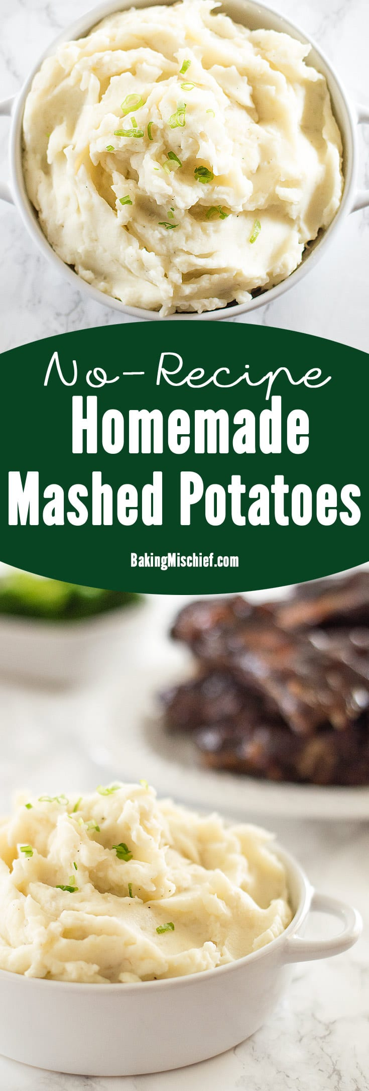 How to make easy homemade mashed potatoes with no recipe required, instructions I wish someone had given me during my childhood of eating boxed mashed potatoes! From BakingMischief.com