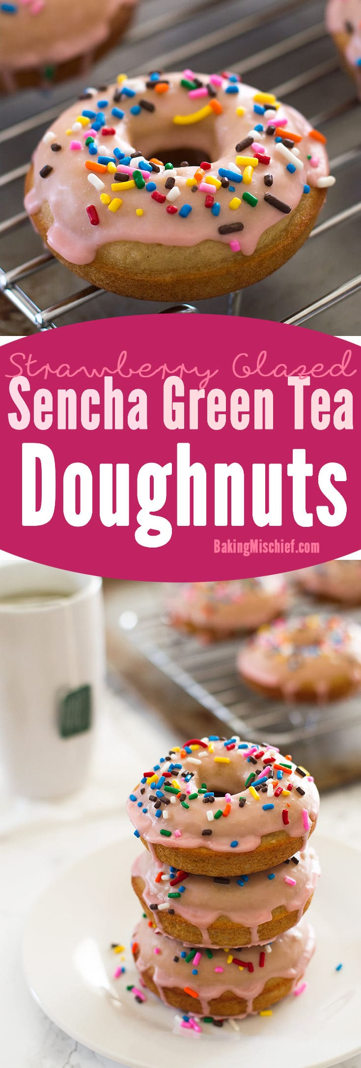 My favorite baked doughnut recipe infused with sencha green tea and topped with a fresh strawberry glaze and sprinkles. Recipe includes nutritional information. From BakingMischief.com