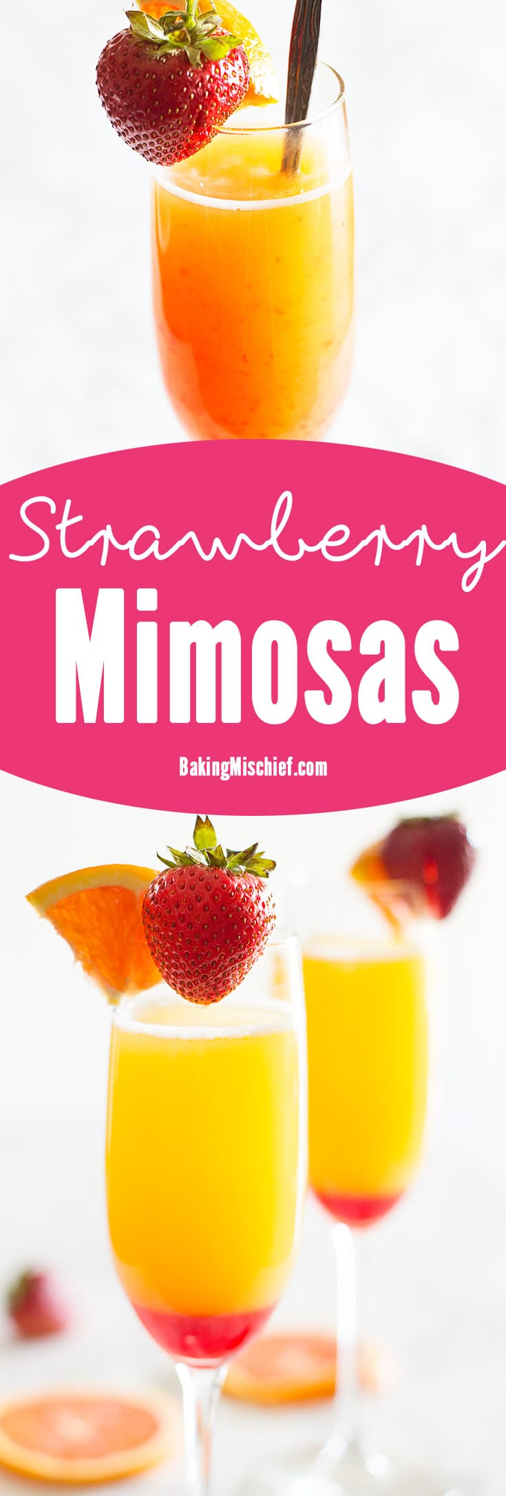 Make brunch even better with a simple but beautiful strawberry upgrade to your classic mimosa recipe. Recipe includes nutritional information and