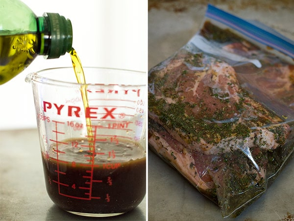 Basil and garlic mixed with olive oil, lemon juice, and Worcestershire sauce make the perfect steak marinade for summer (and winter) grilling. From BakingMischief.com