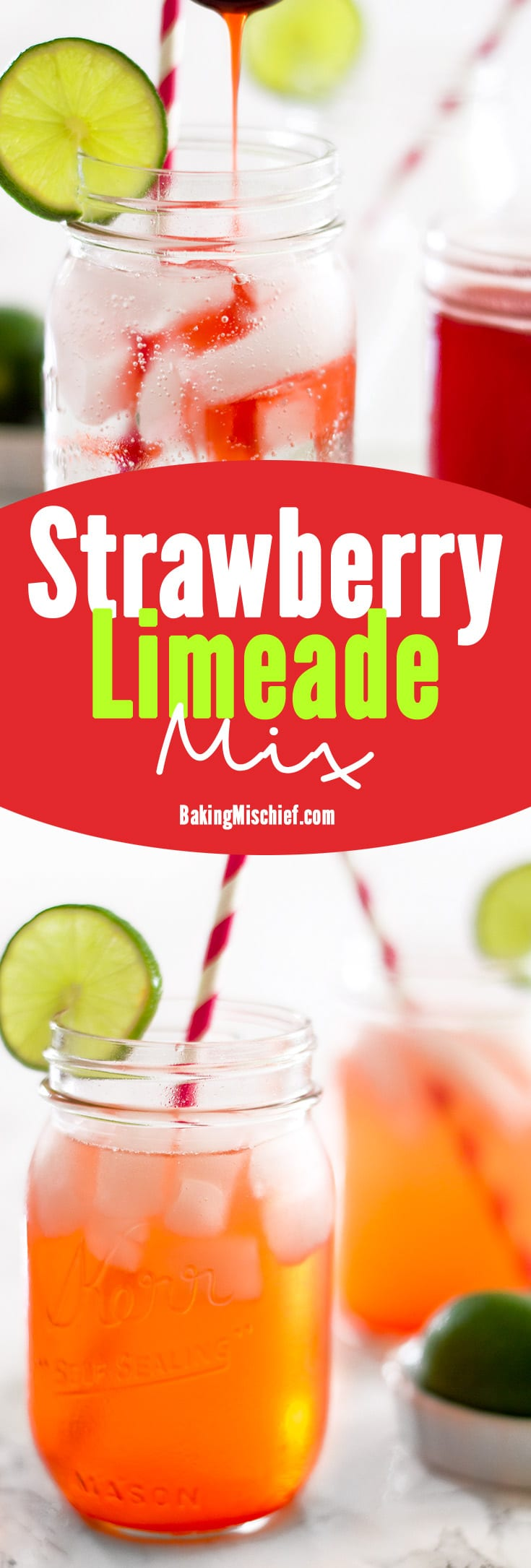 Strawberry Limeade is the perfect summer drink for BBQ's or a mid-afternoon treat. Keep this mix in the fridge and enjoy your limeades on demand all summer long. Recipe includes nutritional information. From BakingMischief.com