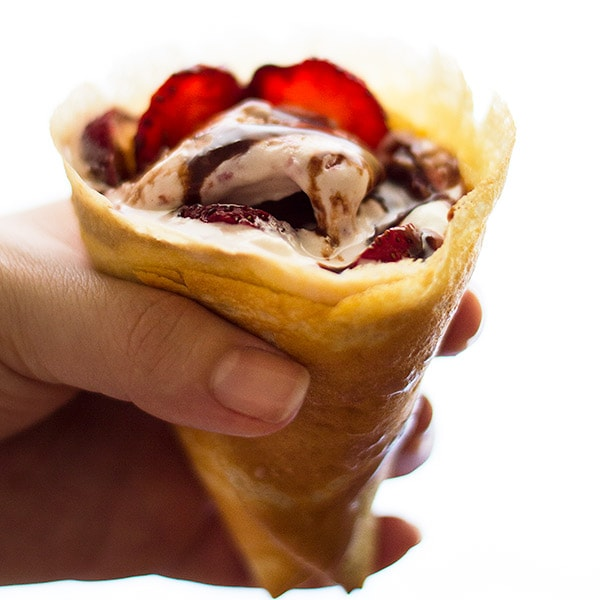 Strawberry and Nutella Crepe Cones for Two