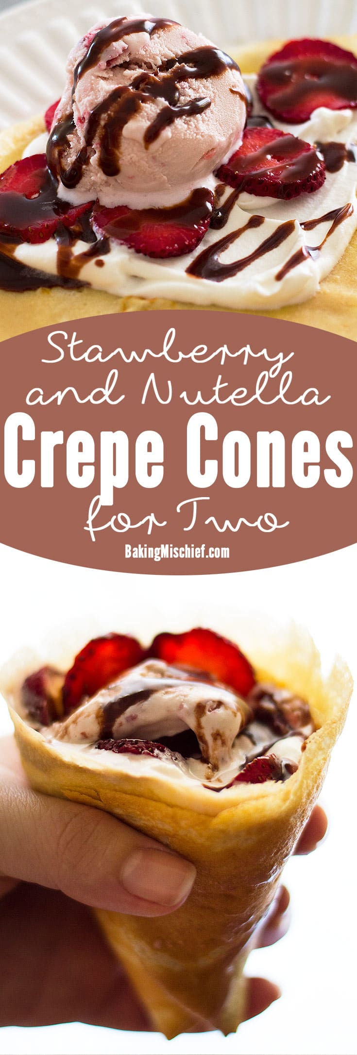 Put leftover crepes to good use and turn them into crepe cones! Perfect for a sunny summer day, these cones are stuffed with strawberry ice cream, fresh strawberries, and whipped cream, and drizzled with a quick and easy Nutella sauce. Recipe includes nutritional information. From BakingMischief.com