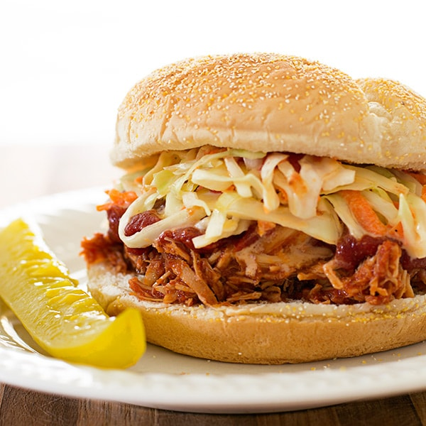 Slow Cooker BBQ Chicken Sandwiches for Two