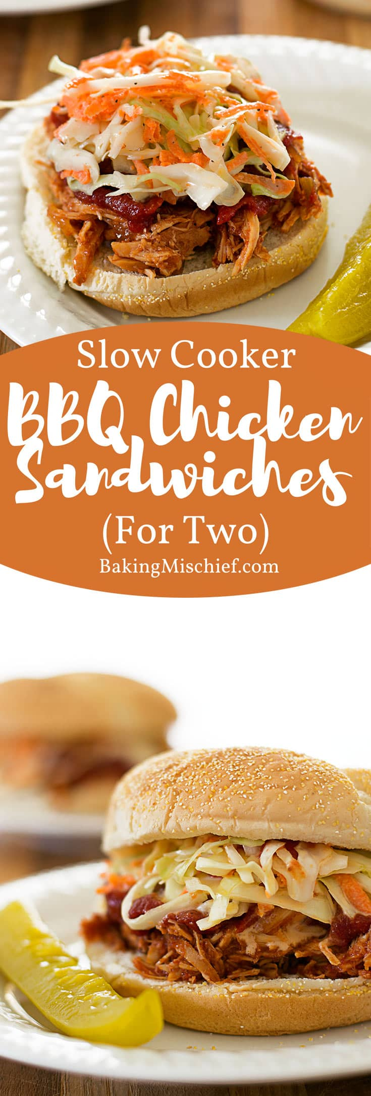 Slow cooker BBQ chicken sandwiches for two with a sweet and tangy ...