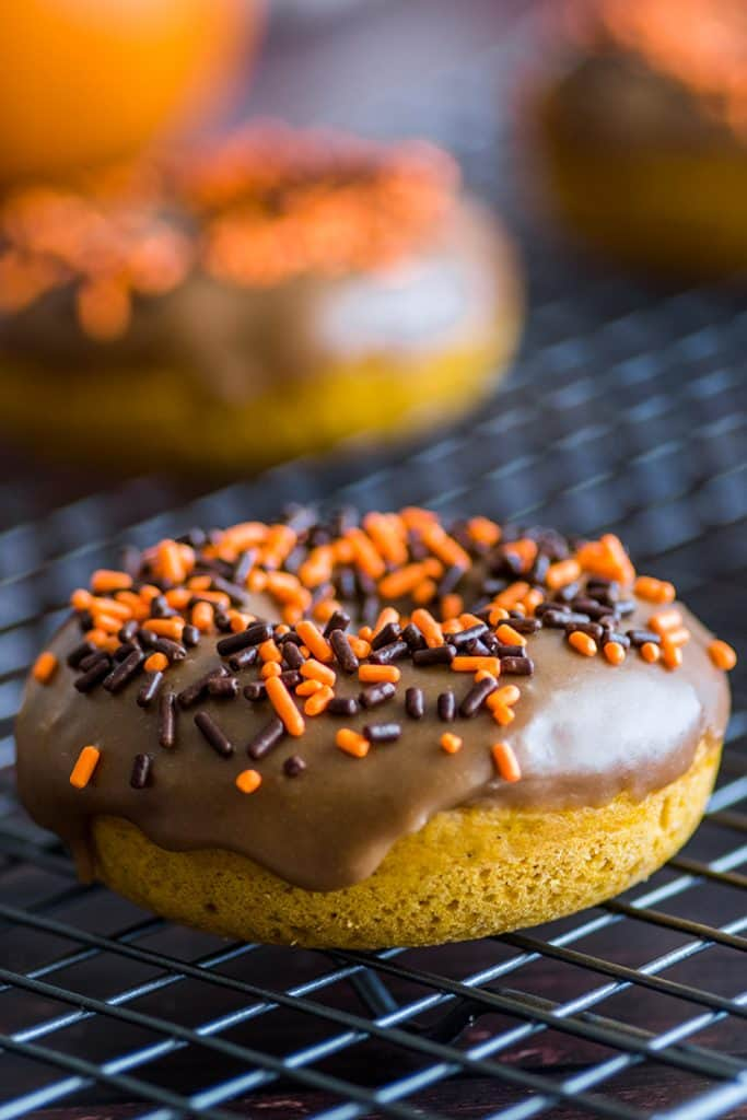 These moist Pumpkin Donuts with Maple Glaze make a perfect Fall breakfast or Fall dessert! | #PumpkinRecipes | #Breakfast | #FallRecipes |