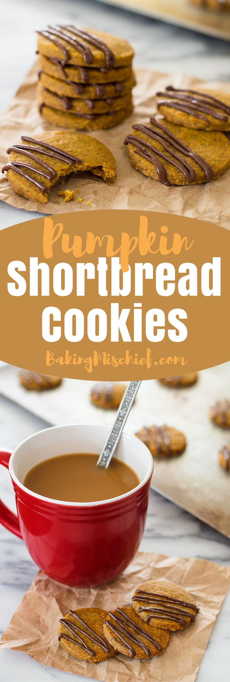These Pumpkin Shortbread Cookies made with browned butter and pumpkin puree are lightly spiced, the perfect combo of crunchy and crumbly, and full of pumpkin flavor. Recipe includes nutritional information. From BakingMischief.com