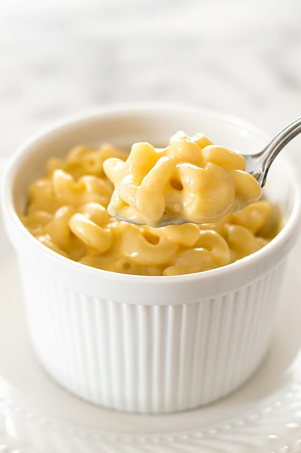 Spoonful of mac and cheese for one.