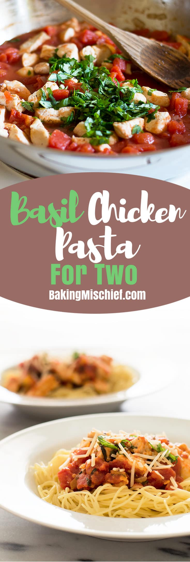 Basil Chicken Pasta is one of my favorite quick and easy weeknight meals. Recipe includes nutritional information. From BakingMischief.com