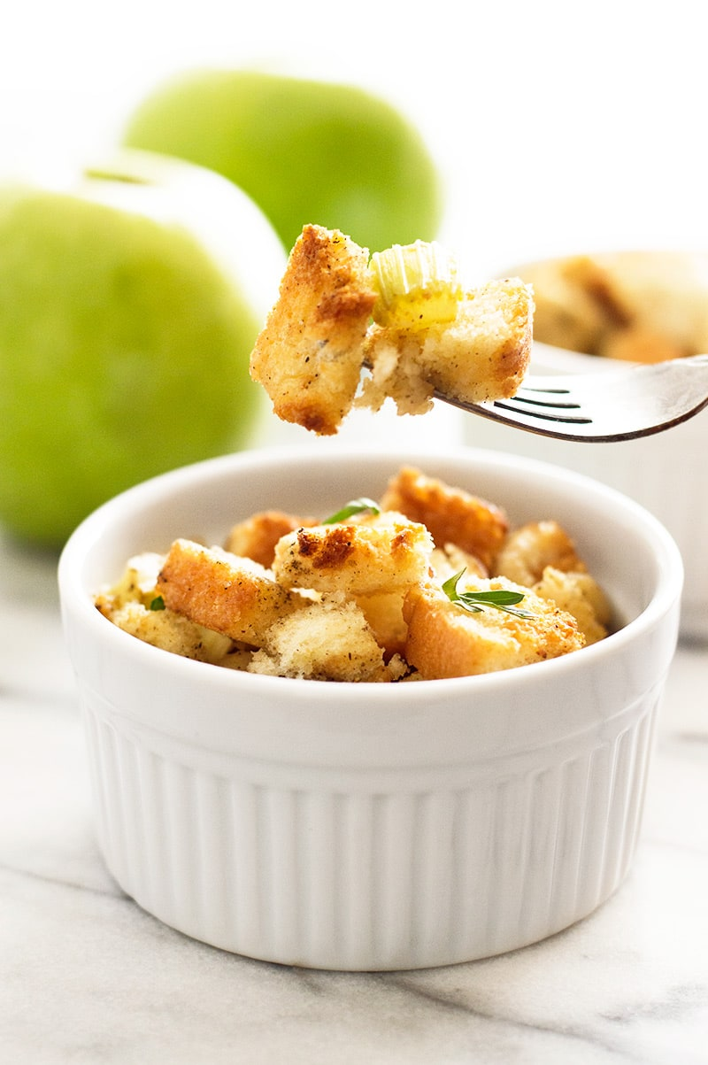 Easy Apple Stuffing for Two - Baking Mischief