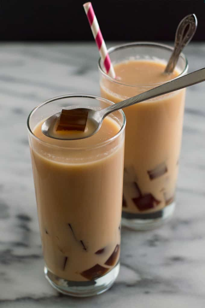 Cool and refreshing milk tea with coffee jelly is so easy to make and fun to drink. Make some and impress your friends. You know you want to. ;)