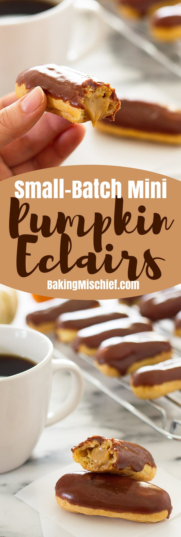 These cute and delicious Mini Pumpkin Eclairs are topped with chocolate glaze and filled with rich pumpkin pastry cream. Recipe includes nutritional information. From BakingMischief.com