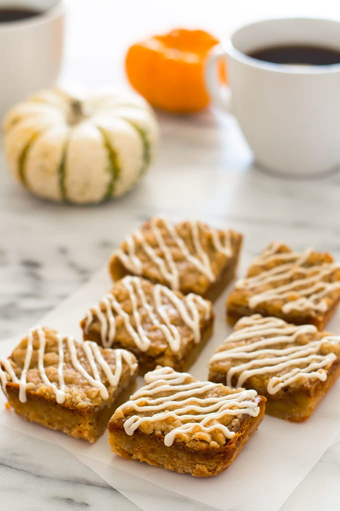 These small-batch Shortbread Pumpkin Pie Bars are everything you love about pumpkin pie, but with an easy shortbread base, crunchy streusel topping, and sweet cream drizzle! Recipe includes nutritional information. From BakingMischief.com