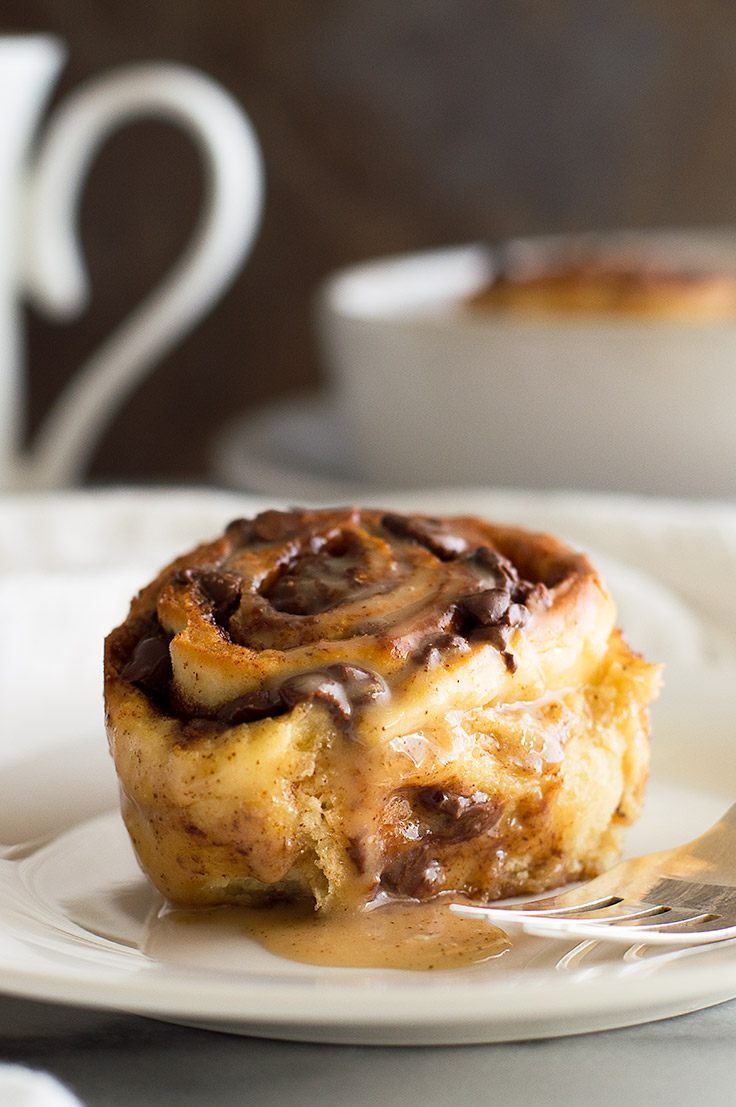 Small-batch Chocolate Cinnamon Rolls with Espresso Glaze can be prepared the night before and then baked in the morning for a hot, chocolatey breakfast for two. From BakingMischief.com