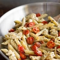 This Easy Pesto Chicken Pasta for Two is a perfect easy pasta dinner. From BakingMischief.com | Dinner for Two | Date Night Ideas