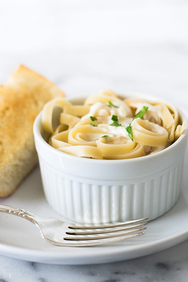 With Fettuccine Alfredo for One you get built in portion control for this easy, cheesy pasta.