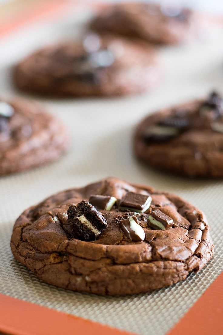 You HAVE to try these Small-batch chocolate cookies stuffed full of crushed Oreos and Andes Mints. | Small batch dessert | Brownie Cookies |