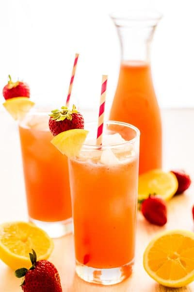 Homemade Strawberry Lemonade for Two