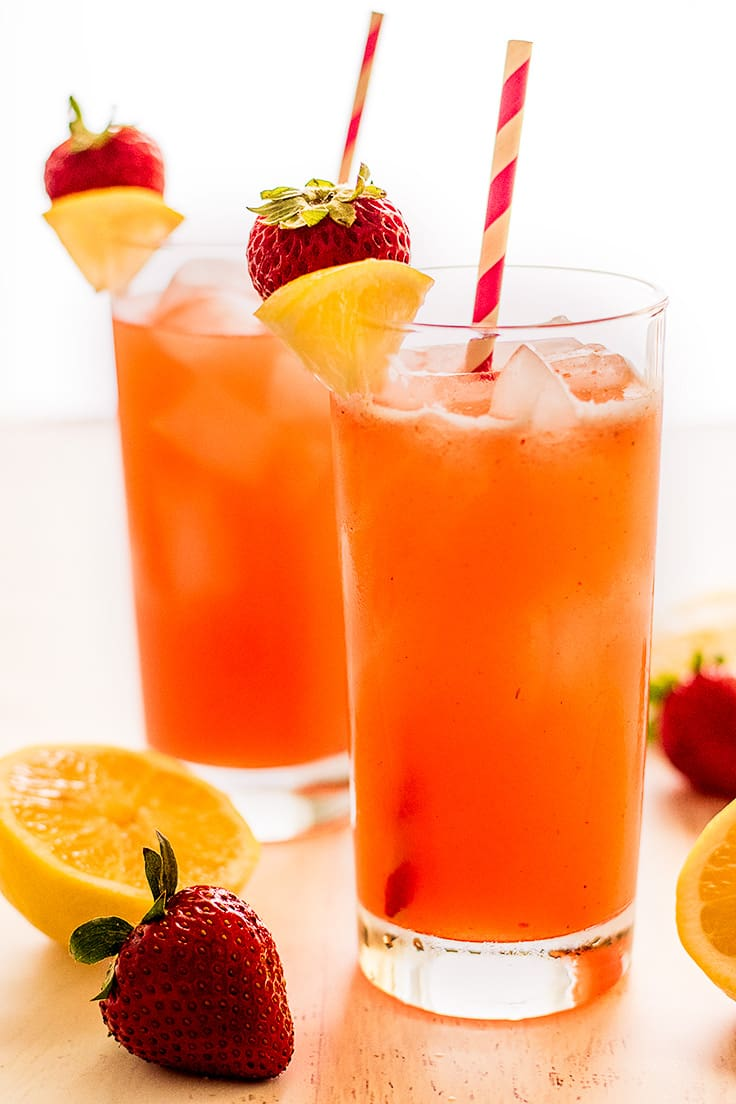Homemade Strawberry Lemonade for Two is a perfect drink for summer!
