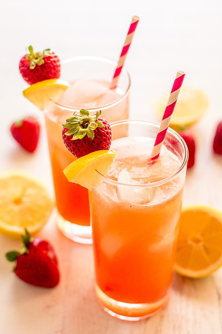 This Homemade Strawberry Lemonade for Two is pretty and pink and so easy to make!