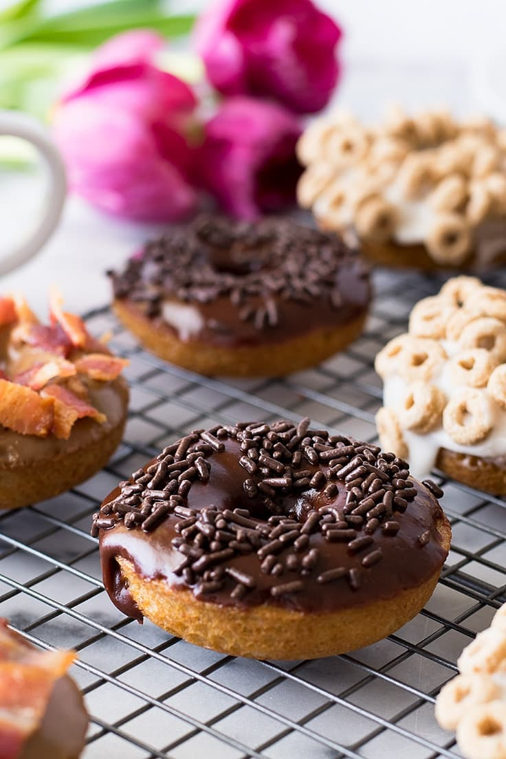 Top these easy baked donuts with Chocolate Glaze, Maple Bacon Glaze or Milk and Cereal Glaze!