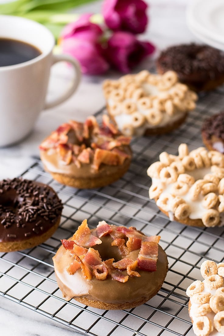 Choose your own adventure with these moist and delicious one-bowl baked donuts that you can make three ways: Maple Bacon Donuts, Milk and Cereal Donuts, or Coffee and Chocolate Donuts!