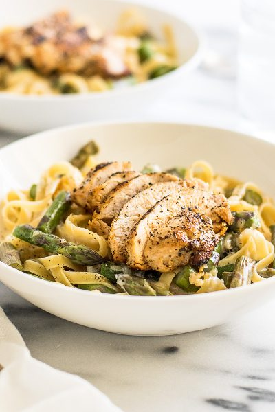 Creamy Chicken and Asparagus Pasta Dinner for Two
