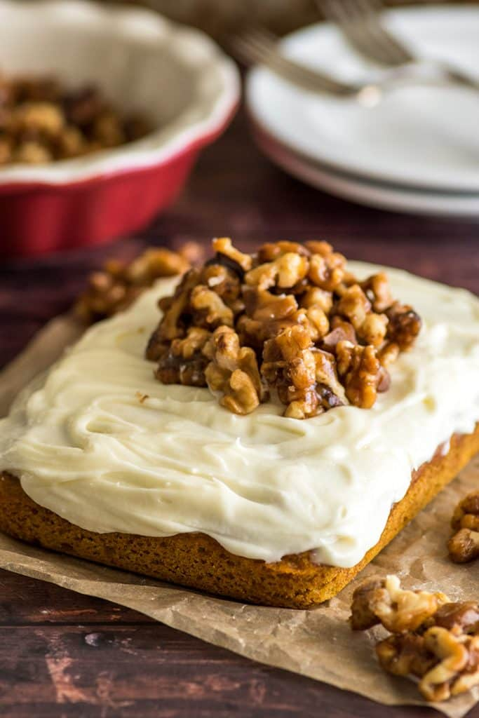 This Mini Pumpkin Cake with cream cheese frosting and candied walnuts is the ultimate fall dessert. | #dessert #Pumpkin Desserts | Small-batch Desserts