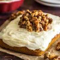 This super simple Mini Pumpkin Cake with cream cheese frosting and homemade candied walnuts is the perfect easy fall dessert to share with a couple friends. | #dessert #Pumpkin Desserts | Small-batch Desserts