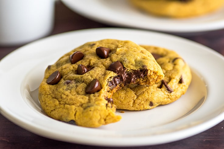 These Small-batch Chocolate Chip Pumpkin Cookies are super delicious, quick, and easy. #cookies | #pumpkinspice | #falldesserts |