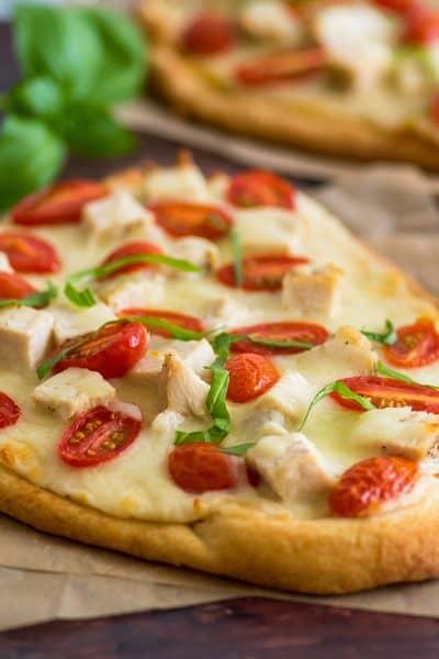Naan Chicken Alfredo Pizza