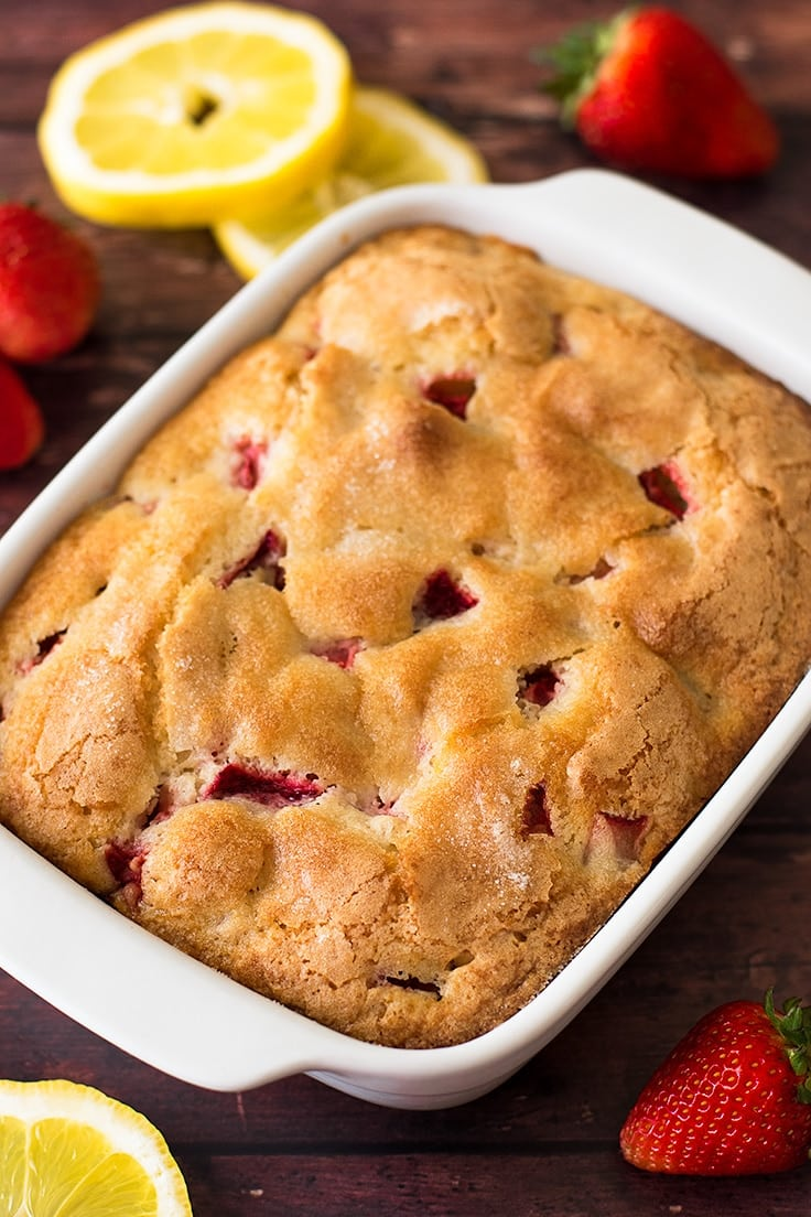 Strawberry, lemon, and buttermilk are the perfect combo in this Mini Strawberry Breakfast Cake!
