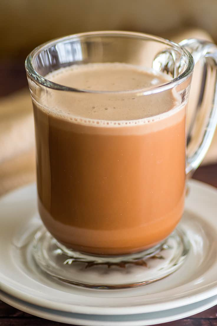 Homemade mocha in a glass cup.
